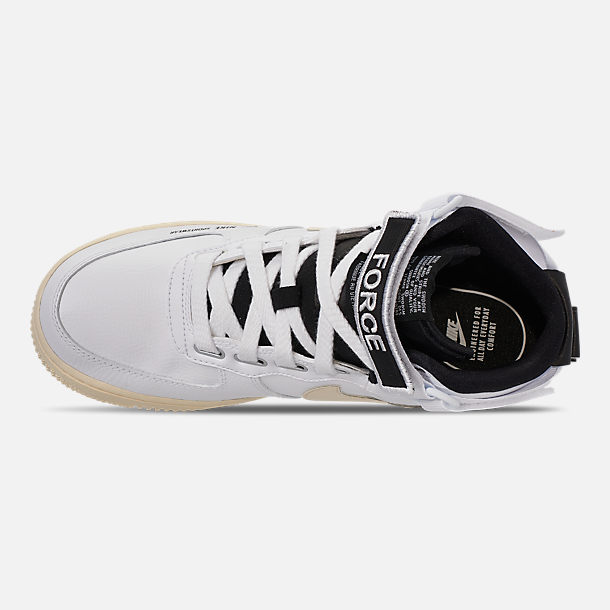 Top view of Women's Nike Air Force 1 High Utility Casual Shoes in White/Light Cream/Black/White