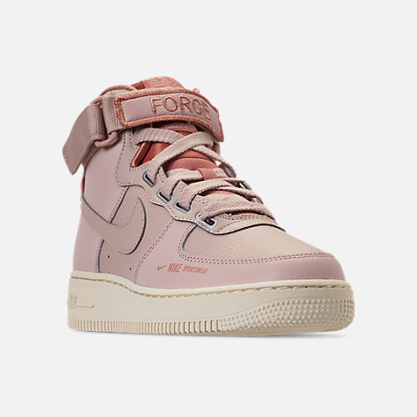 Three Quarter view of Women's Nike Air Force 1 High Utility Casual Shoes in Particle Beige/Particle Beige/Terra