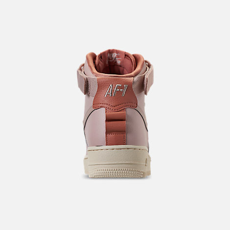 Back view of Women's Nike Air Force 1 High Utility Casual Shoes in Particle Beige/Particle Beige/Terra