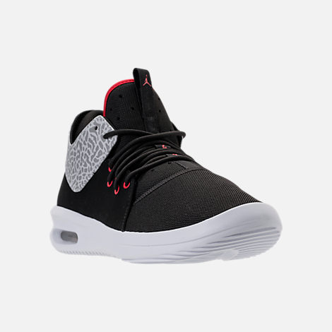 Three Quarter view of Men's Air Jordan First Class Off-Court Shoes in Black/Gym Red/White/Matte Silver