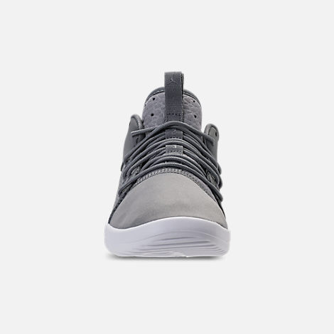 Front view of Boys' Preschool Air Jordan First Class Basketball Shoes in Cool Grey/Cool Grey