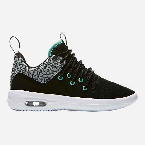 Right view of Boys' Little Kids' Air Jordan First Class Basketball Shoes in Black/Emerald Rise/Cement Grey