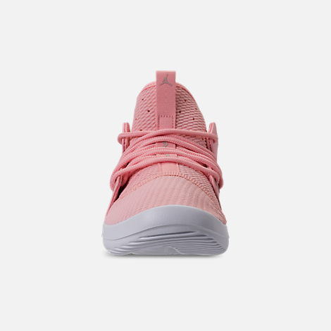 Front view of Girls' Grade School Air Jordan First Class (3.5y - 9.5y) Off-Court Shoes in Bleached Coral/Light Orewood Brown/White