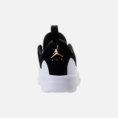 Back view of Girls' Little Kids' Air Jordan First Class Basketball Shoes in Black/Metallic Gold/White