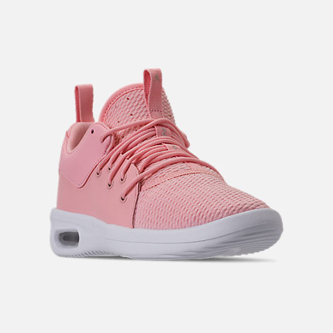 Three Quarter view of Girls' Little Kids' Air Jordan First Class Basketball Shoes in Bleached Coral/Light Orewood Brown/White