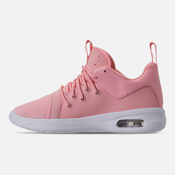 Left view of Girls' Little Kids' Air Jordan First Class Basketball Shoes in Bleached Coral/Light Orewood Brown/White