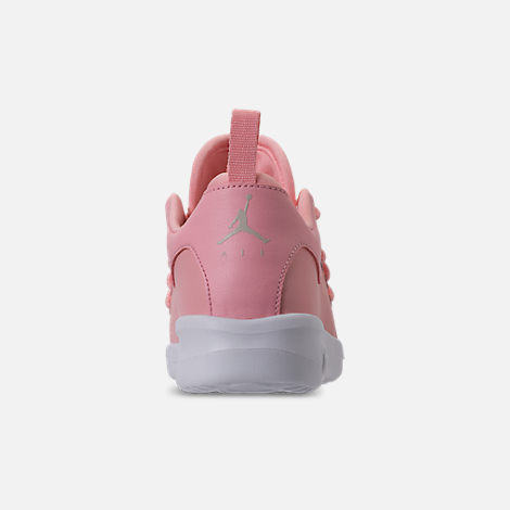 Back view of Girls' Little Kids' Air Jordan First Class Basketball Shoes in Bleached Coral/Light Orewood Brown/White