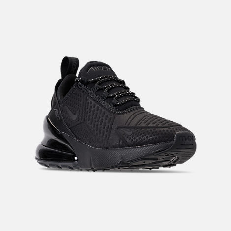 Three Quarter view of Big Kids' Nike Air Max 270 SE Casual Shoes in Black/Black/Black