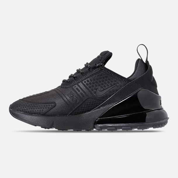 Left view of Big Kids' Nike Air Max 270 SE Casual Shoes in Black/Black/Black