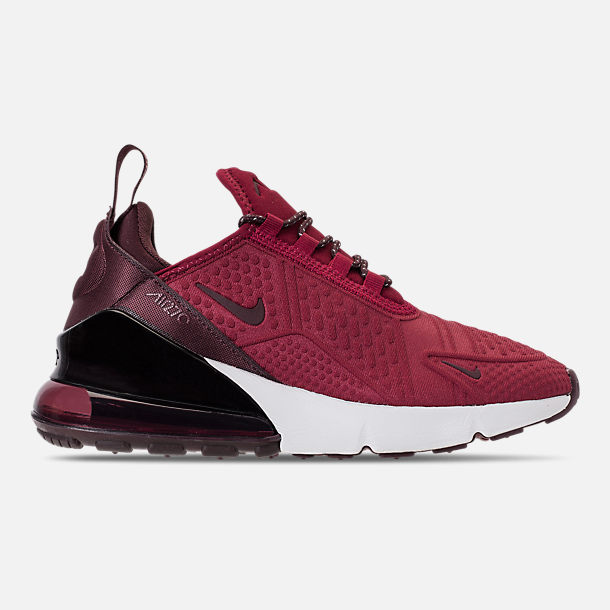 Right view of Big Kids' Nike Air Max 270 SE Casual Shoes in Team Red/Burgundy Crush/Burgundy