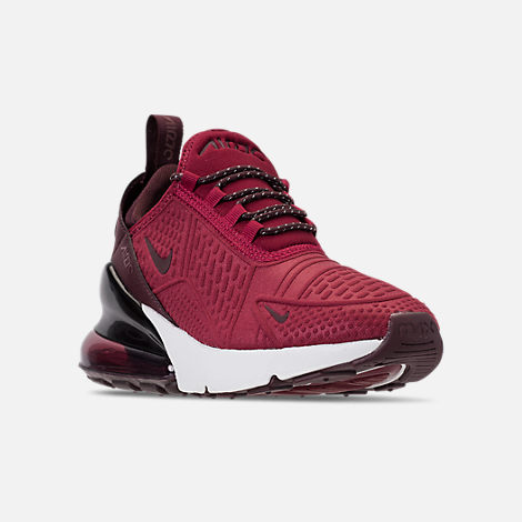 Three Quarter view of Big Kids' Nike Air Max 270 SE Casual Shoes in Team Red/Burgundy Crush/Burgundy
