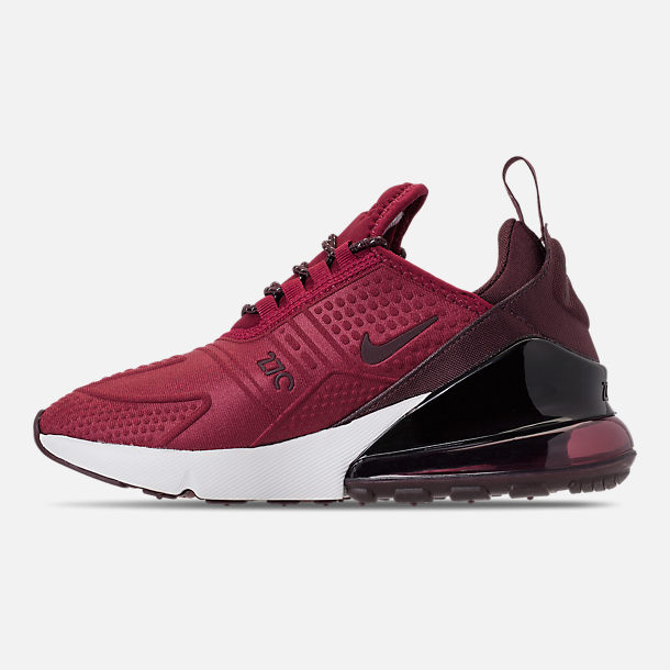 Left view of Big Kids' Nike Air Max 270 SE Casual Shoes in Team Red/Burgundy Crush/Burgundy