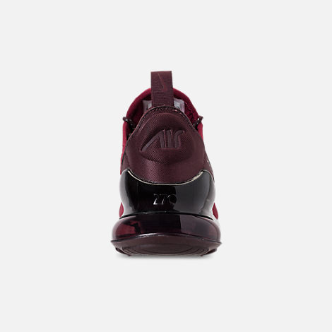 Back view of Big Kids' Nike Air Max 270 SE Casual Shoes in Team Red/Burgundy Crush/Burgundy