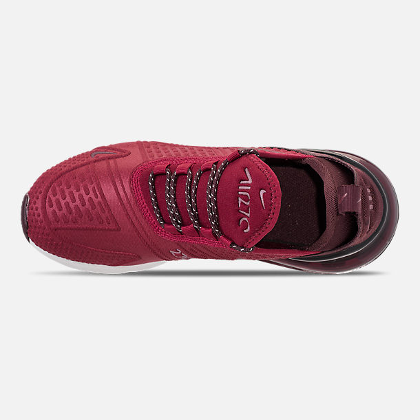 Top view of Big Kids' Nike Air Max 270 SE Casual Shoes in Team Red/Burgundy Crush/Burgundy