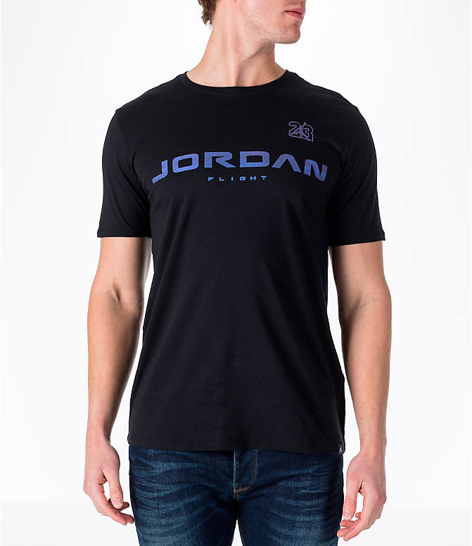 Front view of Men's Air Jordan 13 Retro T-Shirt in Black