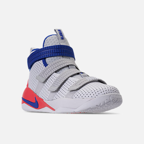 Three Quarter view of Boys' Preschool Nike LeBron Soldier 11 SFG Basketball Shoes