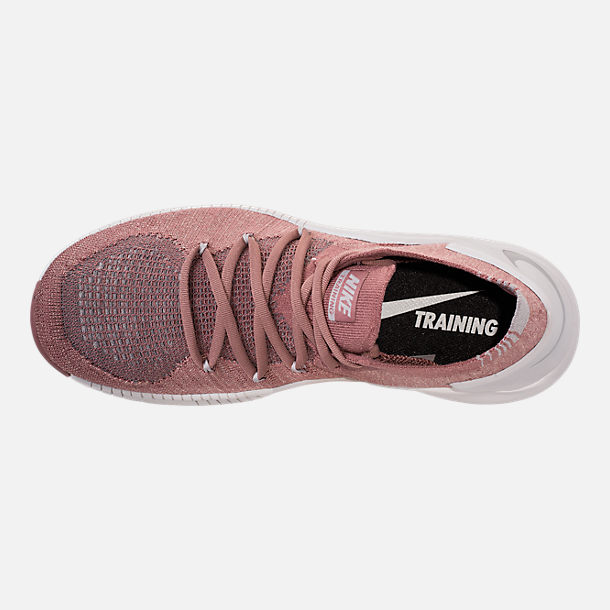 Top view of Women's Nike Free TR Flyknit 3 LM Training Shoes in Smokey Mauve/Metallic Silver/Vast Grey