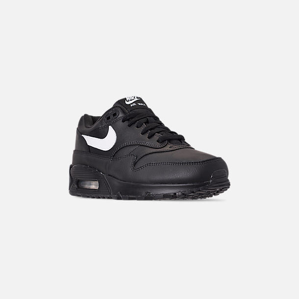 Three Quarter view of Men's Nike Air Max 90/1 Casual Shoes in Black/White