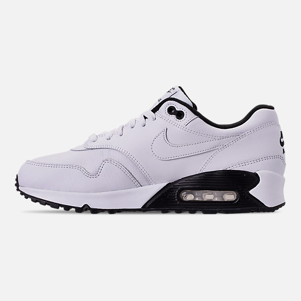 Left view of Men's Nike Air Max 90/1 Casual Shoes in White/Black