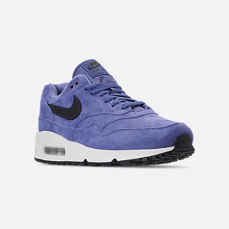 Three Quarter view of Men's Nike Air Max 90/1 Casual Shoes in Purple Basalt/Anthracite/Summit White