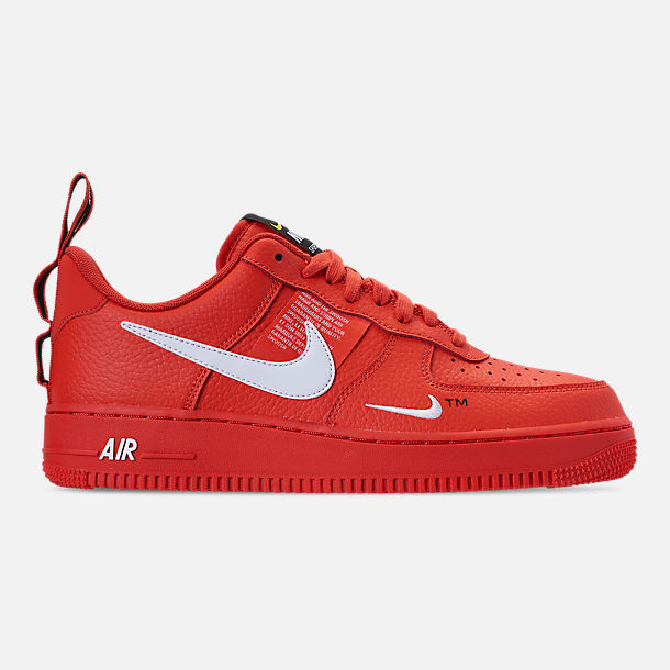 Right view of Men's Nike Air Force 1 '07 LV8 Utility Casual Shoes in Team Orange/White/Black/Tour Yellow