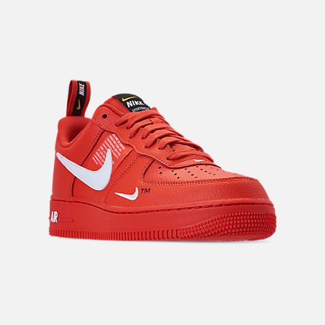 Three Quarter view of Men's Nike Air Force 1 '07 LV8 Utility Casual Shoes in Team Orange/White/Black/Tour Yellow
