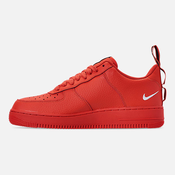 Left view of Men's Nike Air Force 1 '07 LV8 Utility Casual Shoes in Team Orange/White/Black/Tour Yellow