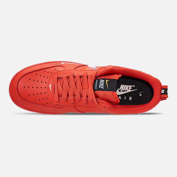 Top view of Men's Nike Air Force 1 '07 LV8 Utility Casual Shoes in Team Orange/White/Black/Tour Yellow