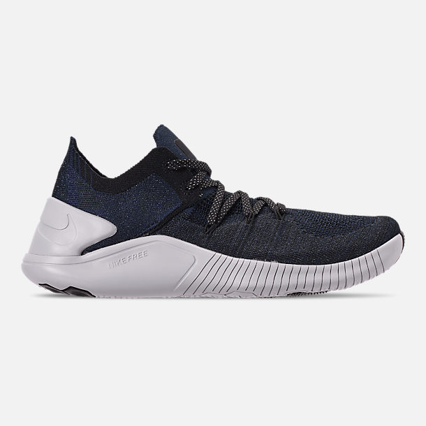 Right view of Women's Nike Free TR Flyknit 3 Training Shoes in College Navy/Pure Platinum/Black