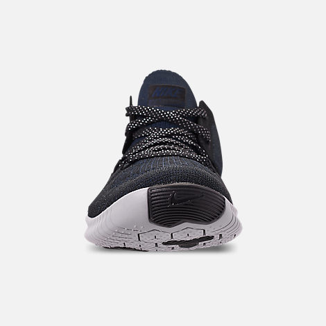 Front view of Women's Nike Free TR Flyknit 3 Training Shoes in College Navy/Pure Platinum/Black