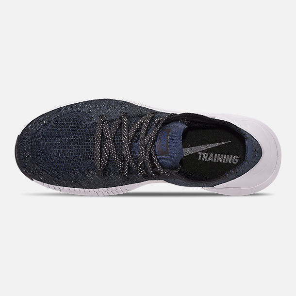 Top view of Women's Nike Free TR Flyknit 3 Training Shoes in College Navy/Pure Platinum/Black