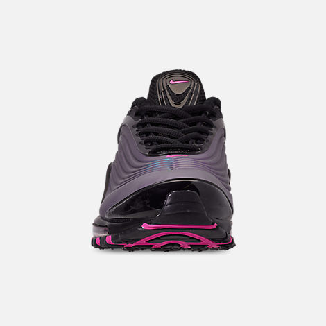 Front view of Men's Nike Air Max Deluxe Casual Shoes in Black/Laser Fuchsia