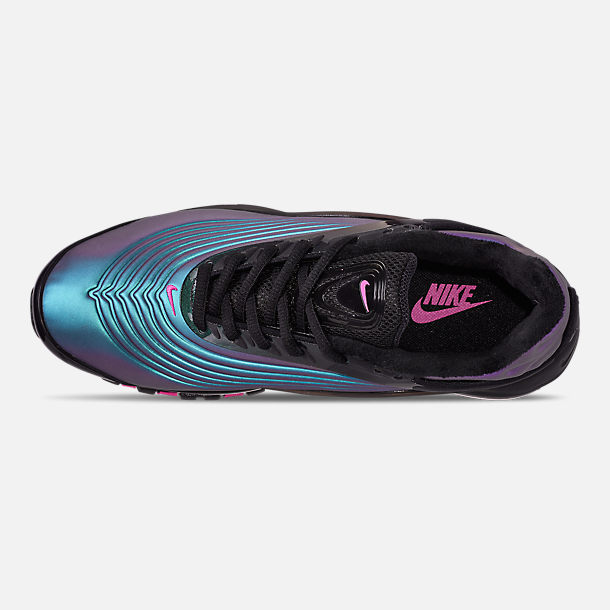Top view of Men's Nike Air Max Deluxe Casual Shoes in Black/Laser Fuchsia