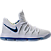 Right view of Boys' Preschool Nike KDX Basketball Shoes in White/Game Royal/University Gold