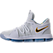 Left view of Boys' Preschool Nike KDX Basketball Shoes in White/Game Royal/University Gold