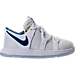 Right view of Boys' Toddler Nike KDX Basketball Shoes in White/Game Royal/University Gold