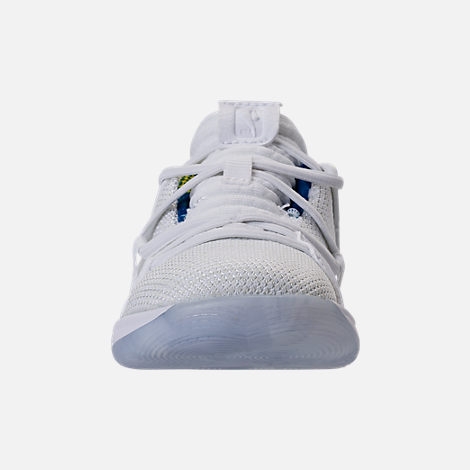 Front view of Boys' Toddler Nike KDX Basketball Shoes in White/Game Royal/University Gold