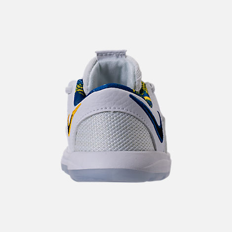 Back view of Boys' Toddler Nike KDX Basketball Shoes in White/Game Royal/University Gold