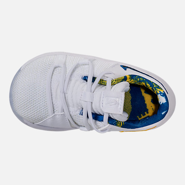 Top view of Boys' Toddler Nike KDX Basketball Shoes in White/Game Royal/University Gold