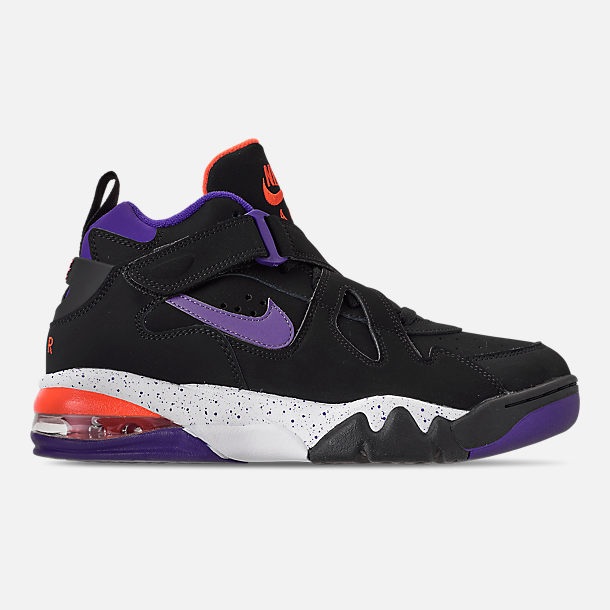 Right view of Men's Nike Air Force Max CB Basketball Shoes in Black/Court Purple/Team Orange