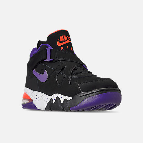 Three Quarter view of Men's Nike Air Force Max CB Basketball Shoes in Black/Court Purple/Team Orange