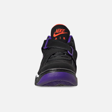 Front view of Men's Nike Air Force Max CB Basketball Shoes in Black/Court Purple/Team Orange