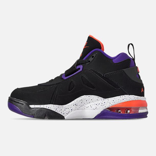 Left view of Men's Nike Air Force Max CB Basketball Shoes in Black/Court Purple/Team Orange