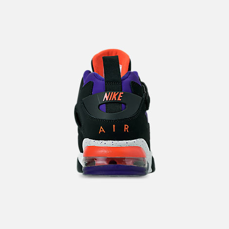 Back view of Men's Nike Air Force Max CB Basketball Shoes in Black/Court Purple/Team Orange