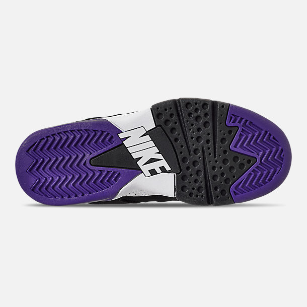 Bottom view of Men's Nike Air Force Max CB Basketball Shoes in Black/Court Purple/Team Orange
