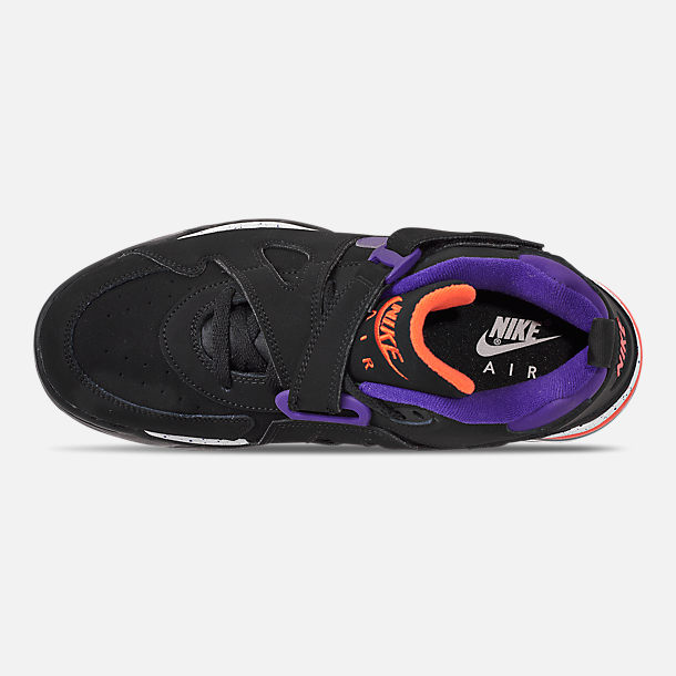 Top view of Men's Nike Air Force Max CB Basketball Shoes in Black/Court Purple/Team Orange