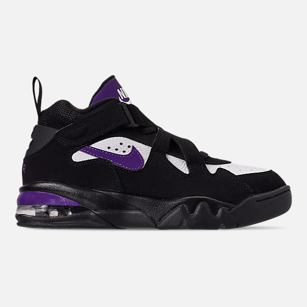 Right view of Men's Nike Air Force Max CB Basketball Shoes in Black/Court Purple/White/Total Orange