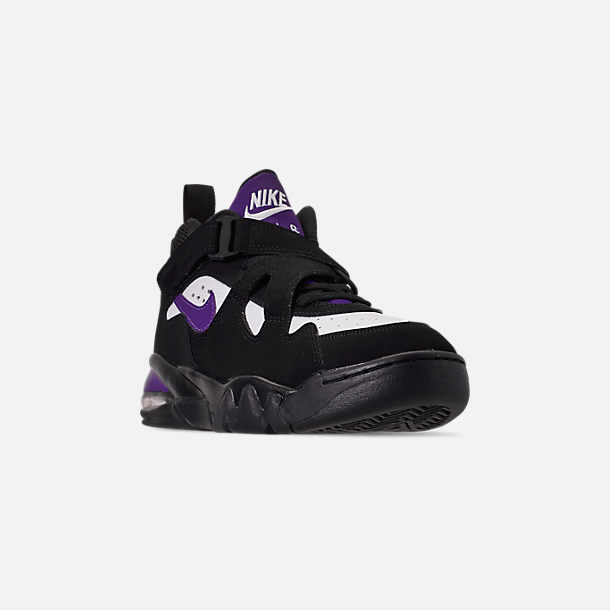 Three Quarter view of Men's Nike Air Force Max CB Basketball Shoes in Black/Court Purple/White/Total Orange