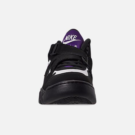 Front view of Men's Nike Air Force Max CB Basketball Shoes in Black/Court Purple/White/Total Orange
