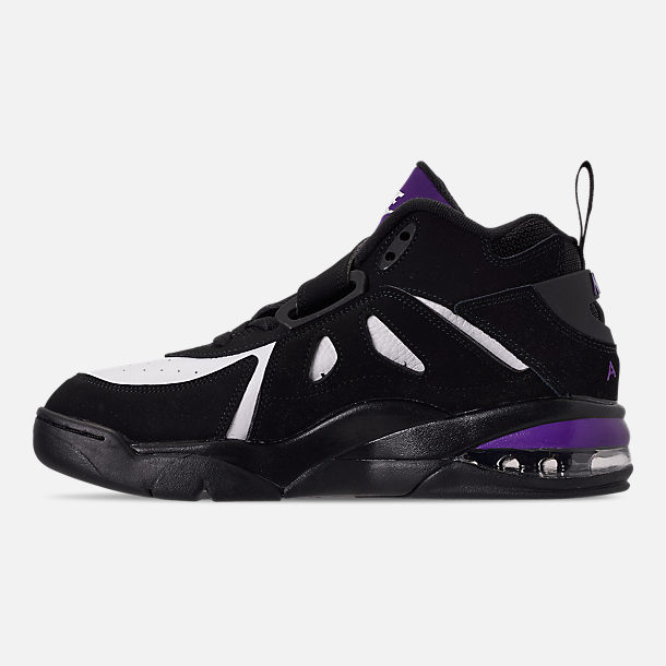 Left view of Men's Nike Air Force Max CB Basketball Shoes in Black/Court Purple/White/Total Orange
